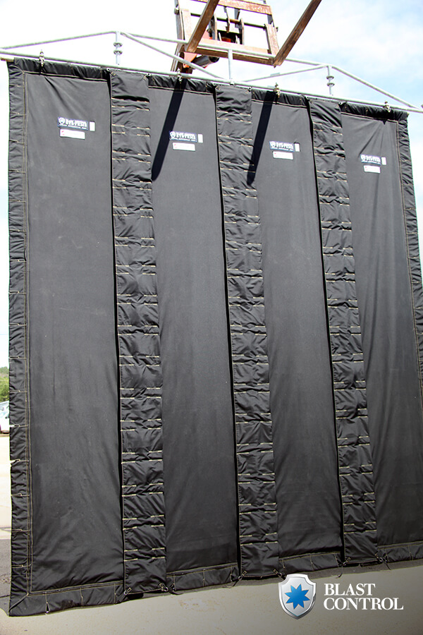 Blast Curtain Hanging Outside