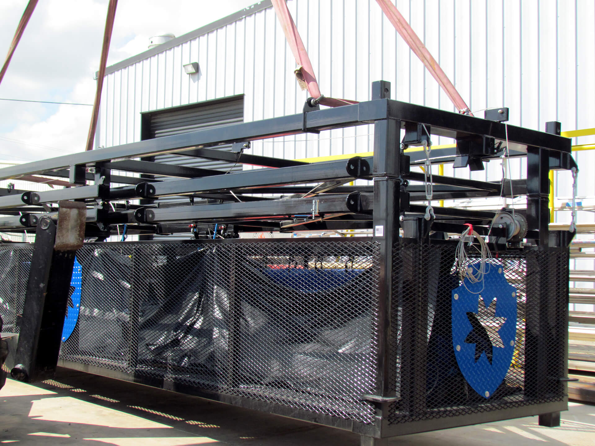 Blast Control DBX Deployable Barrier System retracted and loaded on truck