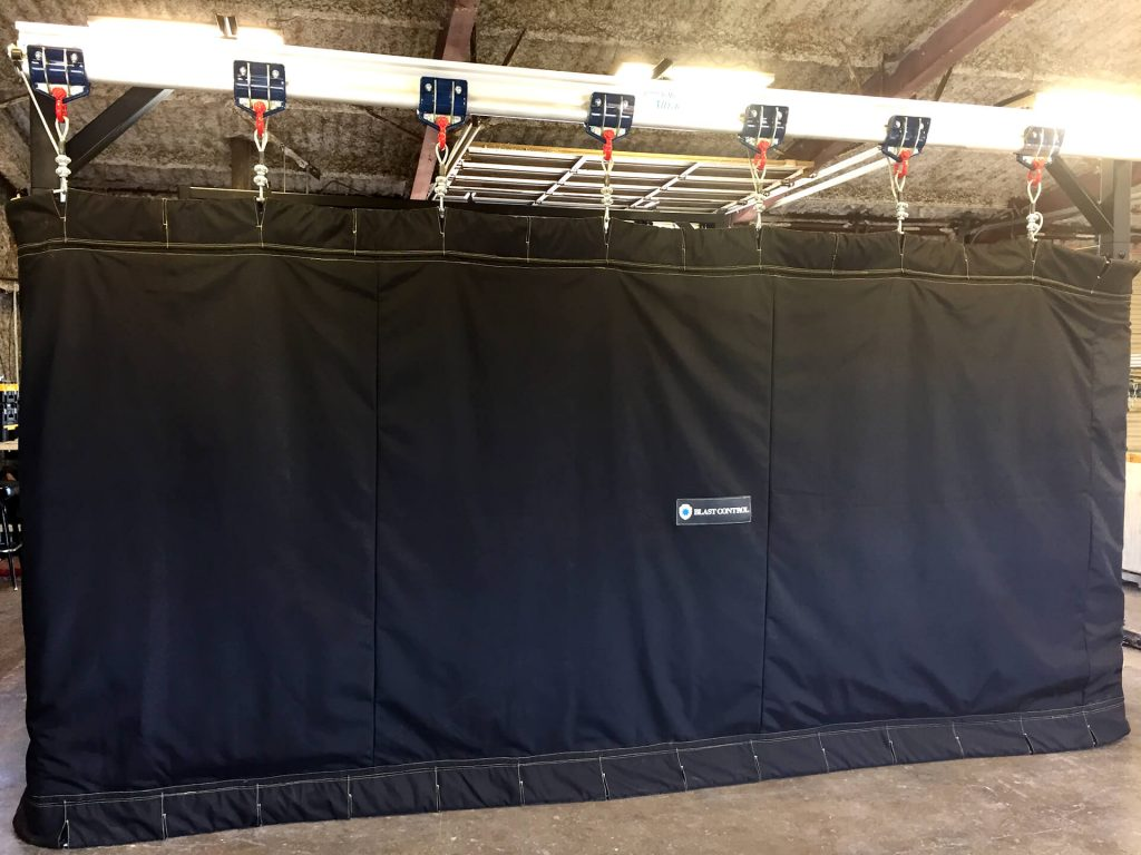 Blast Control Rail Mounted Blast Curtains interior booth