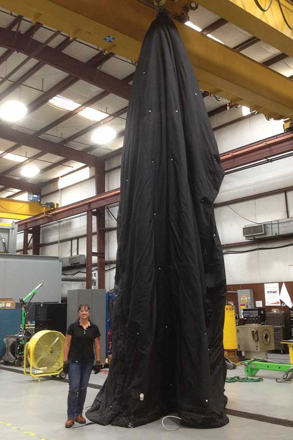 Large Blast Control Blanket Lifted By Indoor Hoist