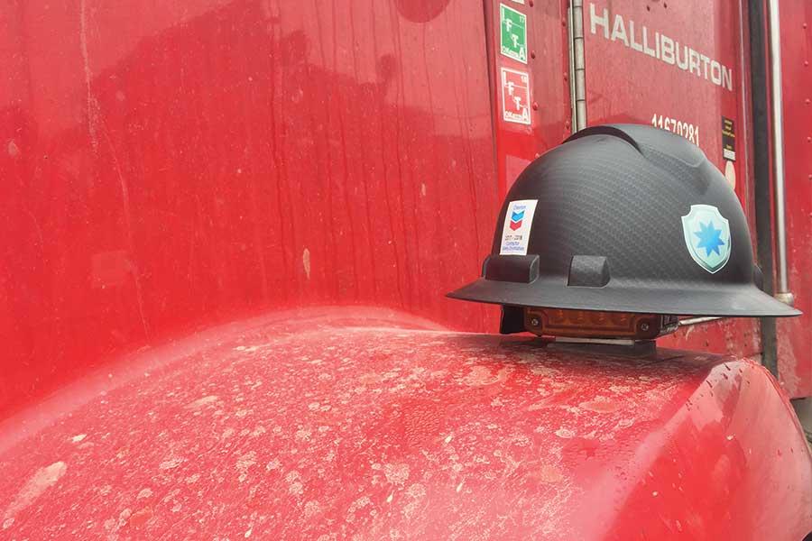 Blast Control Helmet On Halliburton Truck