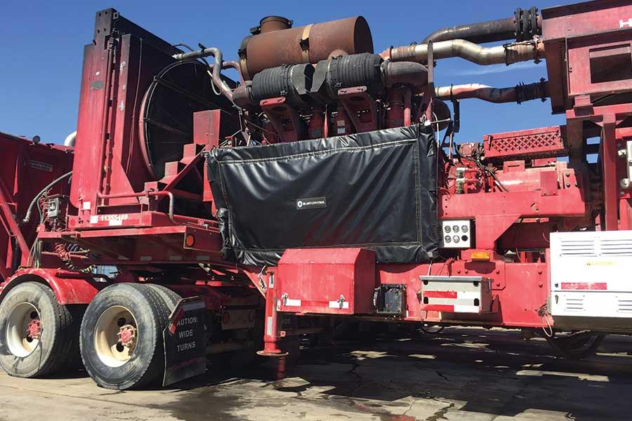 Blast Control Curtain Covering Halliburton Truck Equipment