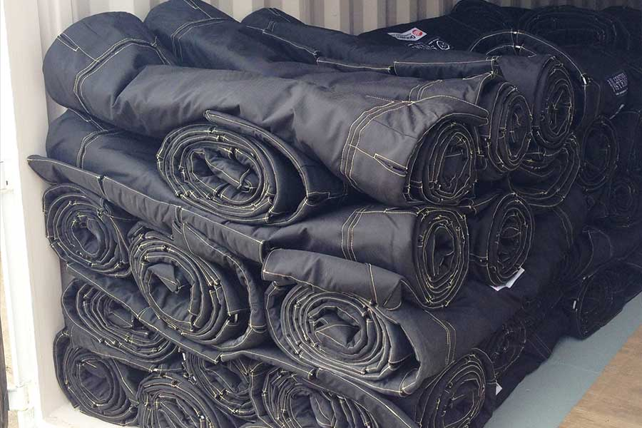 Stacks Of Rolled Blast Control Blankets