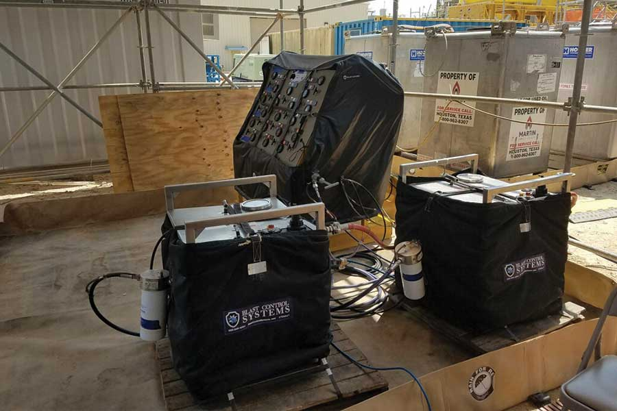 Custom Blast Control Wraps Around Three Different Peices Of Equipment